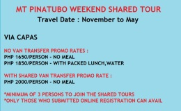 MT PINATUBO SHARED TOUR-WEEKEND TOUR ONLY-OPTION 1-PHP 1650/PERSON-NO VAN TRANSFER-GUESTS ARRIVING VIA OWN CAR OR COMMUTE OR  OPTION 2-PHP 2000/PERSON-WITH SHARED TRANSFER
